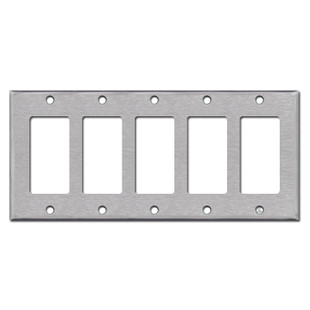 5 Decora Rocker Light Switch Plates - Spec Grade Stainless Steel