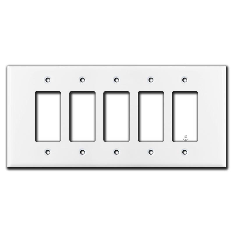 Oversized 5 Decora Rocker Switch Plate Cover White