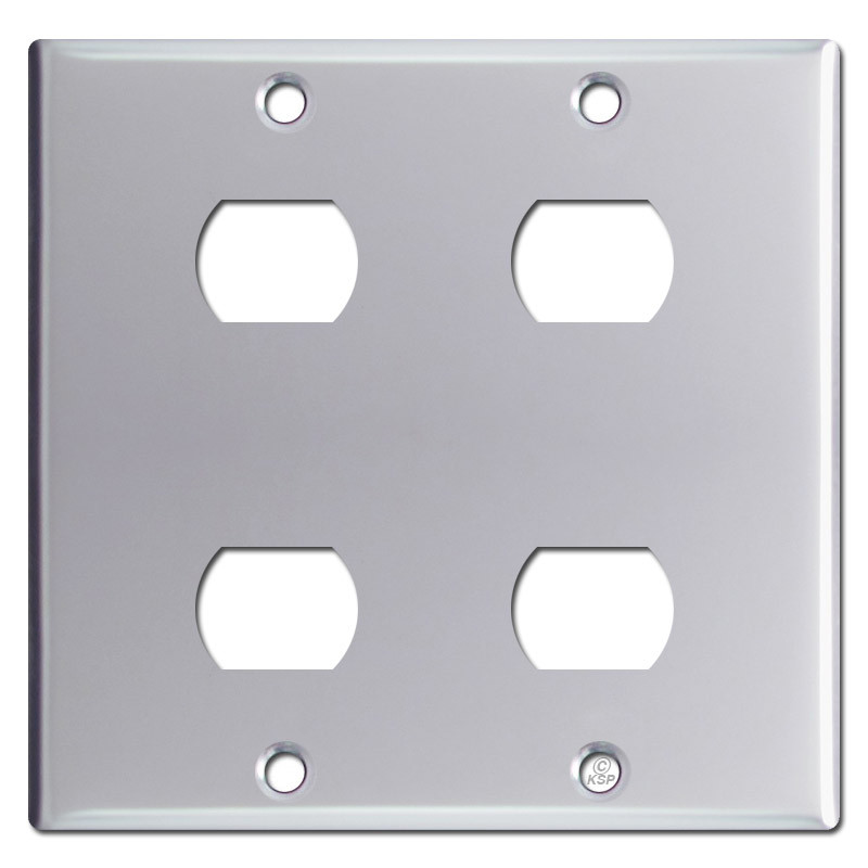 2 Gang 4 Stacked Despard Switch Wall Plate Polished Chrome
