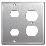 1 Outlet 2 Despard Combo Switch Wall Plates - Satin Stainless Steel