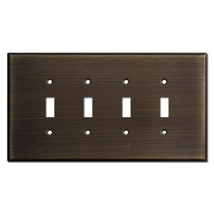 Oversized 4-Gang Toggle Switchplates - Oil Rubbed Bronze