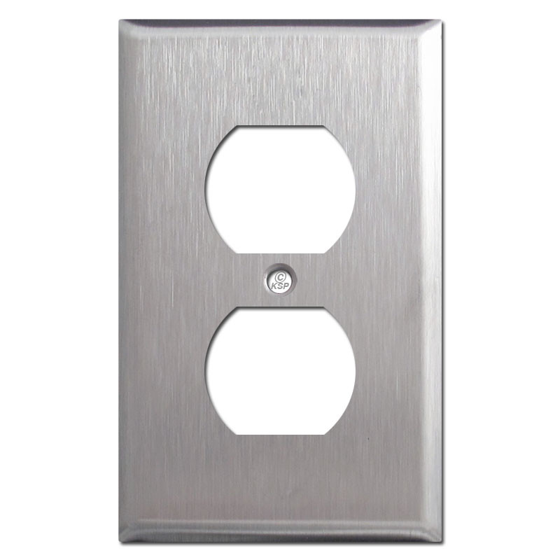 1 Duplex Receptacle Cover Plate Spec Grade Stainless Steel