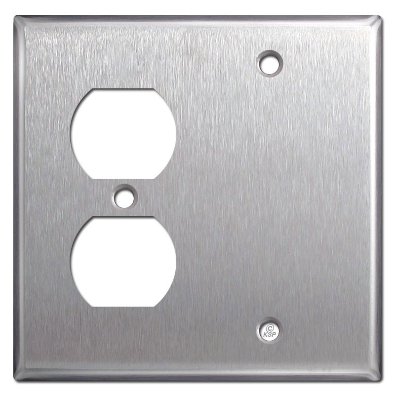 2 Gang Duplex Blank Plate Covers Spec Grade Stainless Steel