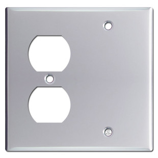 Duplex Receptacle Blank Switch Plate - Polished Chrome