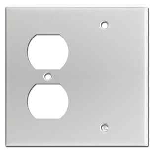 Blank Duplex Outlet Cover - Brushed Aluminum