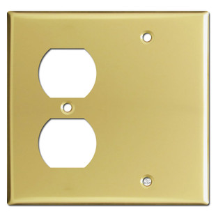 1 Outlet 1 Blank Wallplate - Polished Brass