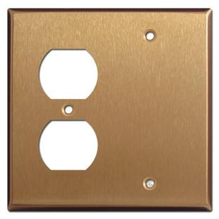 Single Duplex Outlet Single Blank Faceplate - Satin Bronze