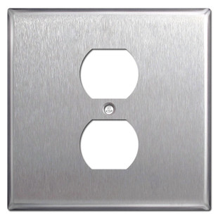 2 Gang Centered Single Duplex Covers - Spec Grade Stainless Steel
