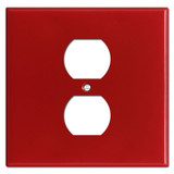 Double Gang Single Center Duplex Wallplates - Red