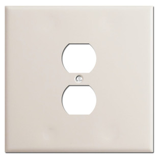Oversized 2 Gang 1 Centered Outlet Plate Covers - Light Almond