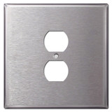 Oversized Two Gang One Centered Outlet Covers - Satin Stainless Steel
