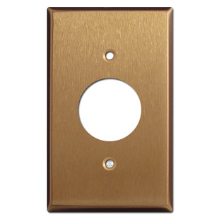 Single Electrical Plug Cover Plate - Satin Bronze