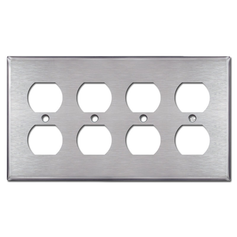 4 Gang Brushed Stainless Steel Rocker Outlet Metal Wall Plate Cover
