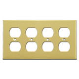 4 Duplex Outlet Wallplate - Polished Brass