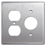 3 Plug Switch Plate - Satin Stainless Steel