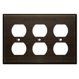 Triple Duplex Outlet Switchplate - Oil Rubbed Bronze