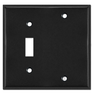 1 Toggle 1 Blank Light Switch Plates - Black