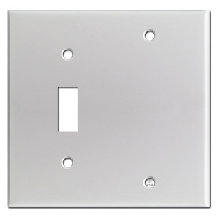 1 Toggle 1 Blank Cover Plates - Brushed Aluminum