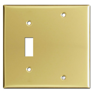 1 Toggle 1 Blank Wall Plates - Polished Brass