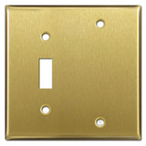 1 Toggle 1 Blank Switch Plates - Satin Brass