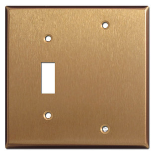 1 Toggle 1 Blank Wall Covers - Satin Bronze