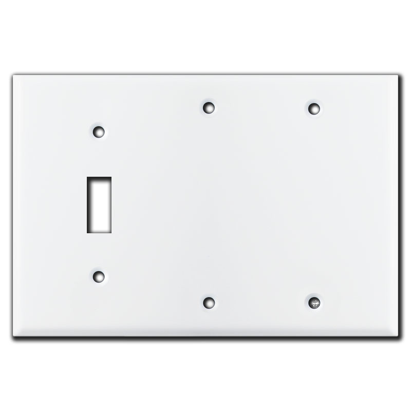 3 Gang 1 Toggle 2 Blank Switch Plate White Kyle Switch Plates
