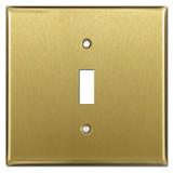Wide Single Toggle Light Switch Plates - Satin Brass