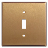 2 Gang Wide 1 Toggle Switch Plate - Satin Bronze
