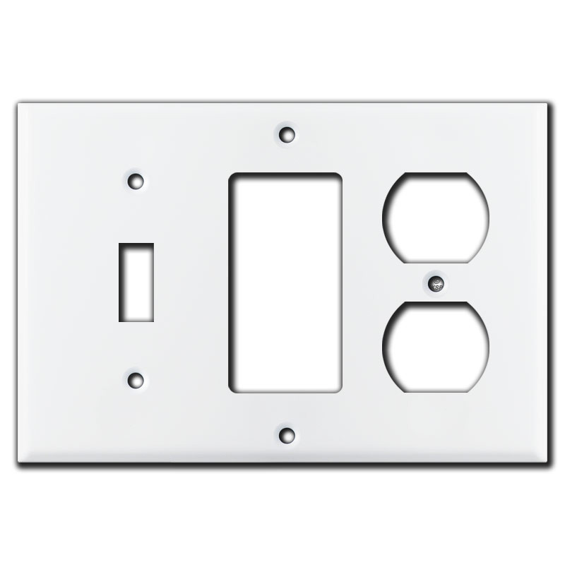 1 Toggle 1 Rocker 1 Duplex Wall Plate White Kyle Switch Plates