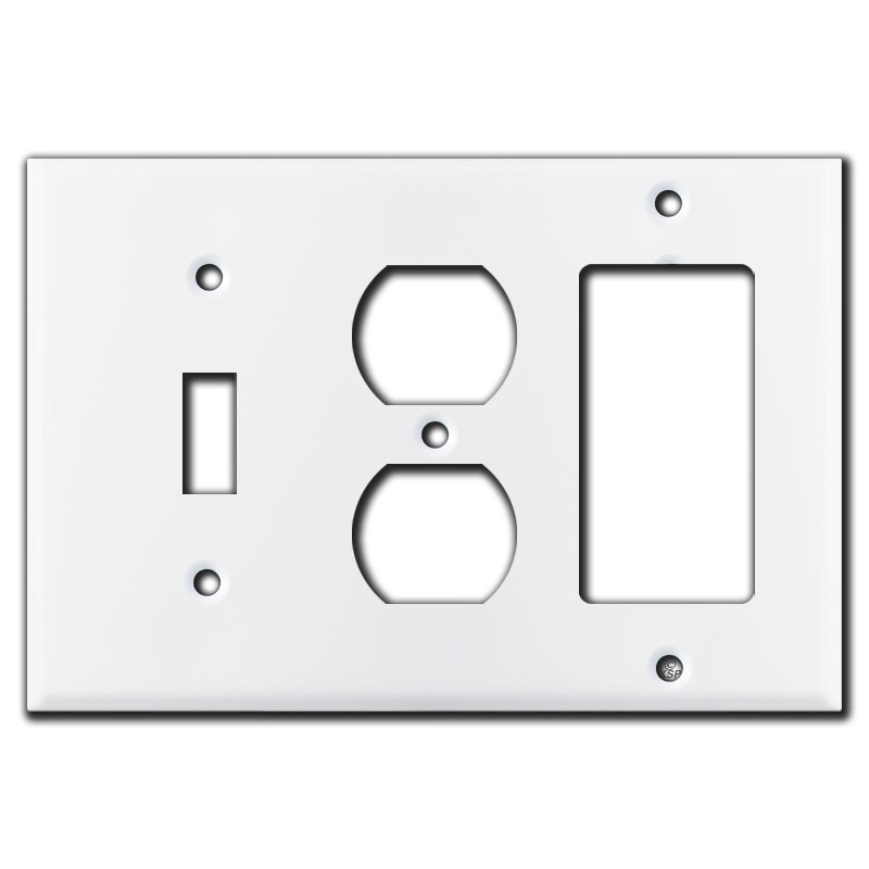 1 Toggle 1 Duplex 1 Rocker Switch Plate White Kyle Switch Plates