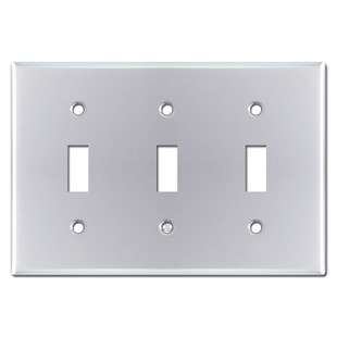 Triple Toggle Switch Plate Cover - Polished Chrome