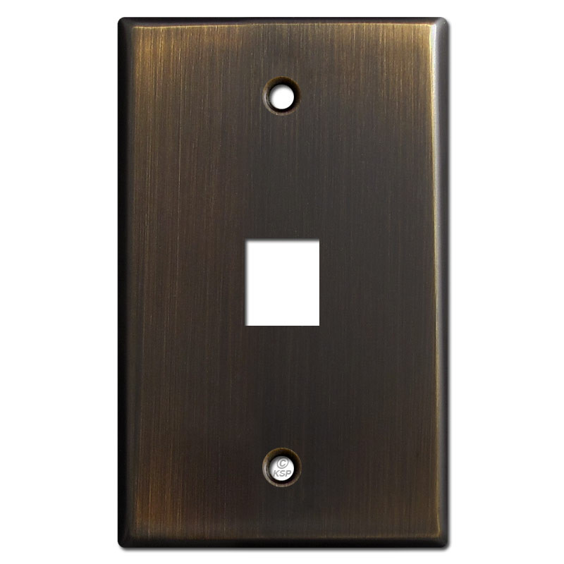 one phone jack cover plate oil rubbed bronze. Black Bedroom Furniture Sets. Home Design Ideas
