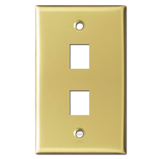 Double Phone Jack Faceplates - Polished Brass