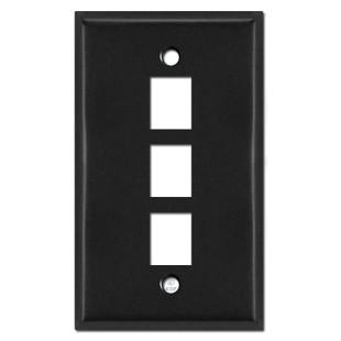 3 Phone Jack Wall Plates - Black