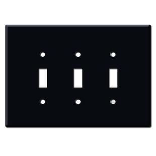 Jumbo 3 Gang Three Toggle Wall Plate Covers - Black