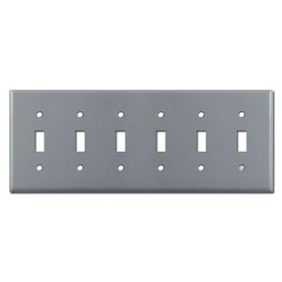 6 Toggle Light Switch Plates - Gray