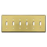 6 Toggle Wall Switch Plates - Satin Brass