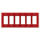 6 Gang Rocker Cover Plate - Red
