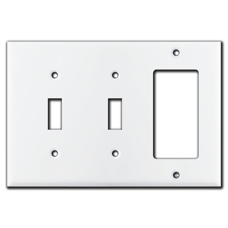 2 Toggle 1 Rocker Wall Plate - White | Kyle Switch Plates