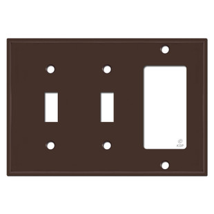 2 Toggle Rocker Switch Plate - Brown