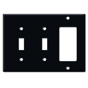 2 Toggle / Rocker Wall Plates - Black
