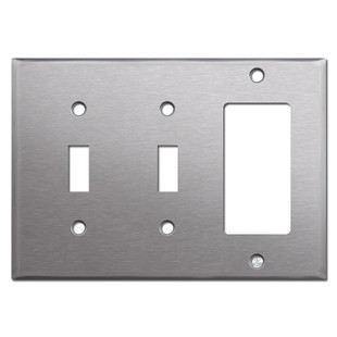 1 Rocker 2 Toggle Switch Plate - Spec Grade Stainless Steel