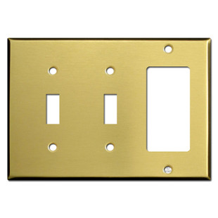 Double Toggle Rocker Switch Plate - Satin Brass