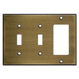 Double Toggle/Single GFI/Paddle Switchplate - Antique Brass