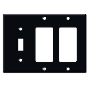 2 Rocker 1 Toggle Wall Plates - Black