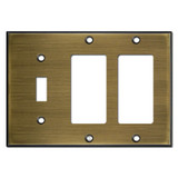 Single Toggle Double GFCI Cover Plates - Antique Brass