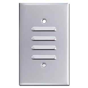 Louvered Switch Plate One Gang Vertical - Chrome