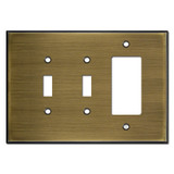 Jumbo 1 GFI 2 Toggle Wallplate - Antique Brass