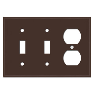 2 Toggle Duplex Outlet Wall Plate - Brown