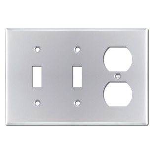 2 Toggle 1 Duplex Outlet Cover - Polished Chrome